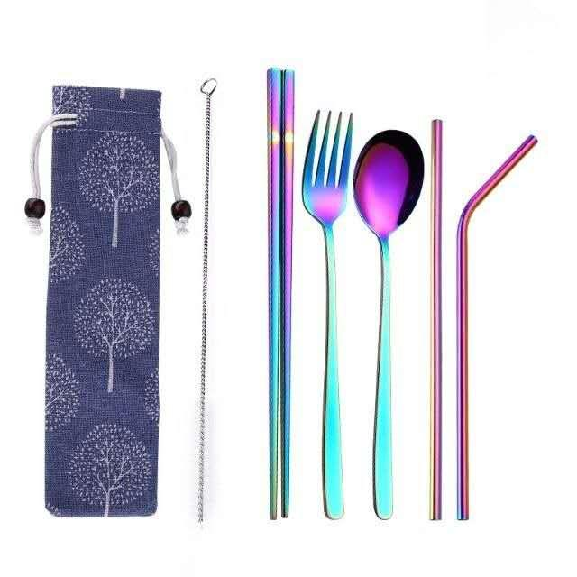 Utensils Set + Metal Straw With Free Pouch/free Cleaner By K.c.d.