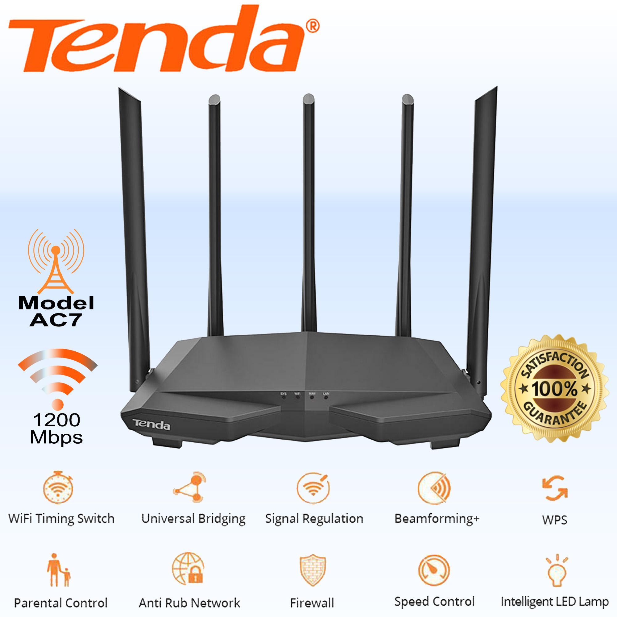 Tenda AC7 Wireless WiFi Router 1200Mbps 2 4GHz/5 0GHz 5x6dBi Antenna WiFi  Repeater Smart APP Manage