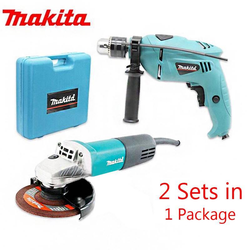 Makita Grinder With Drill Set (Blue) (Set)