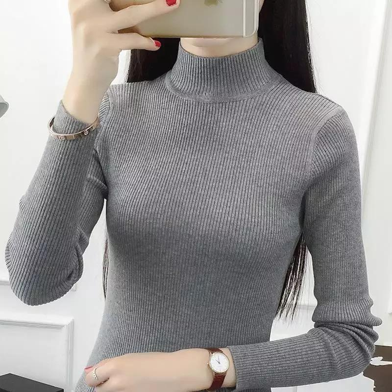 Autumn and Winter New Korean Style Women Knitted Turtle Neck Slim Fit Long  Sleeved Blouse HS 92b456e3d8df