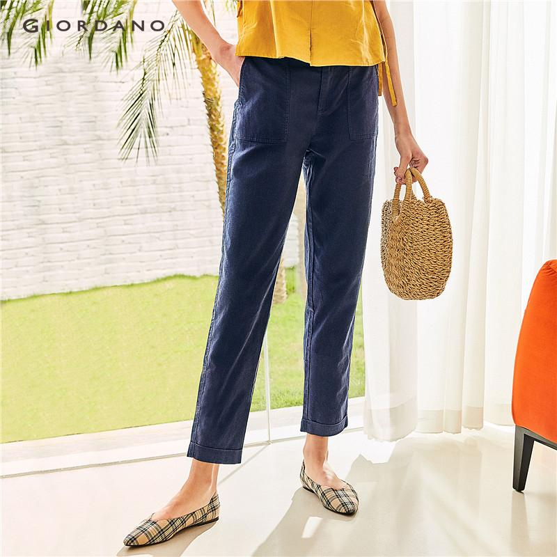 eef3ff7c88 Giordano Women Pants Linen Cotton Ankle Length Pants For Women Rolled Up  Cuffs Casual Women's Trousers
