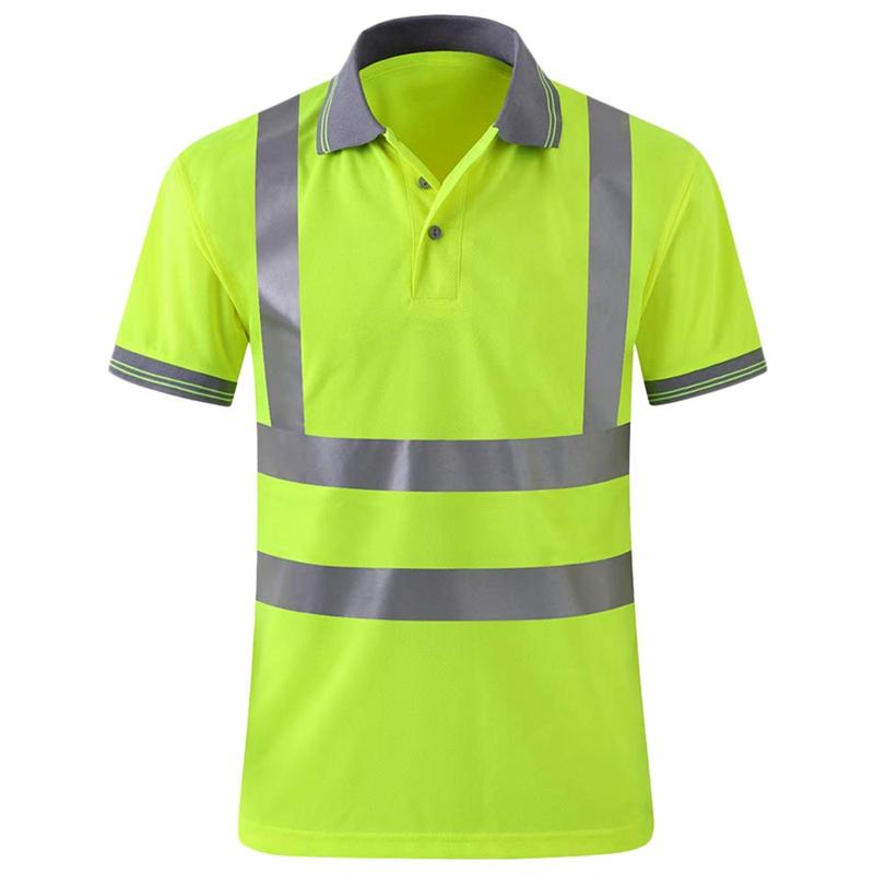 Moisture Wicking Reflective Shirt Short Sleeve Yellow Vest Safet Y Class 2 Unisex Construction Security Exercise