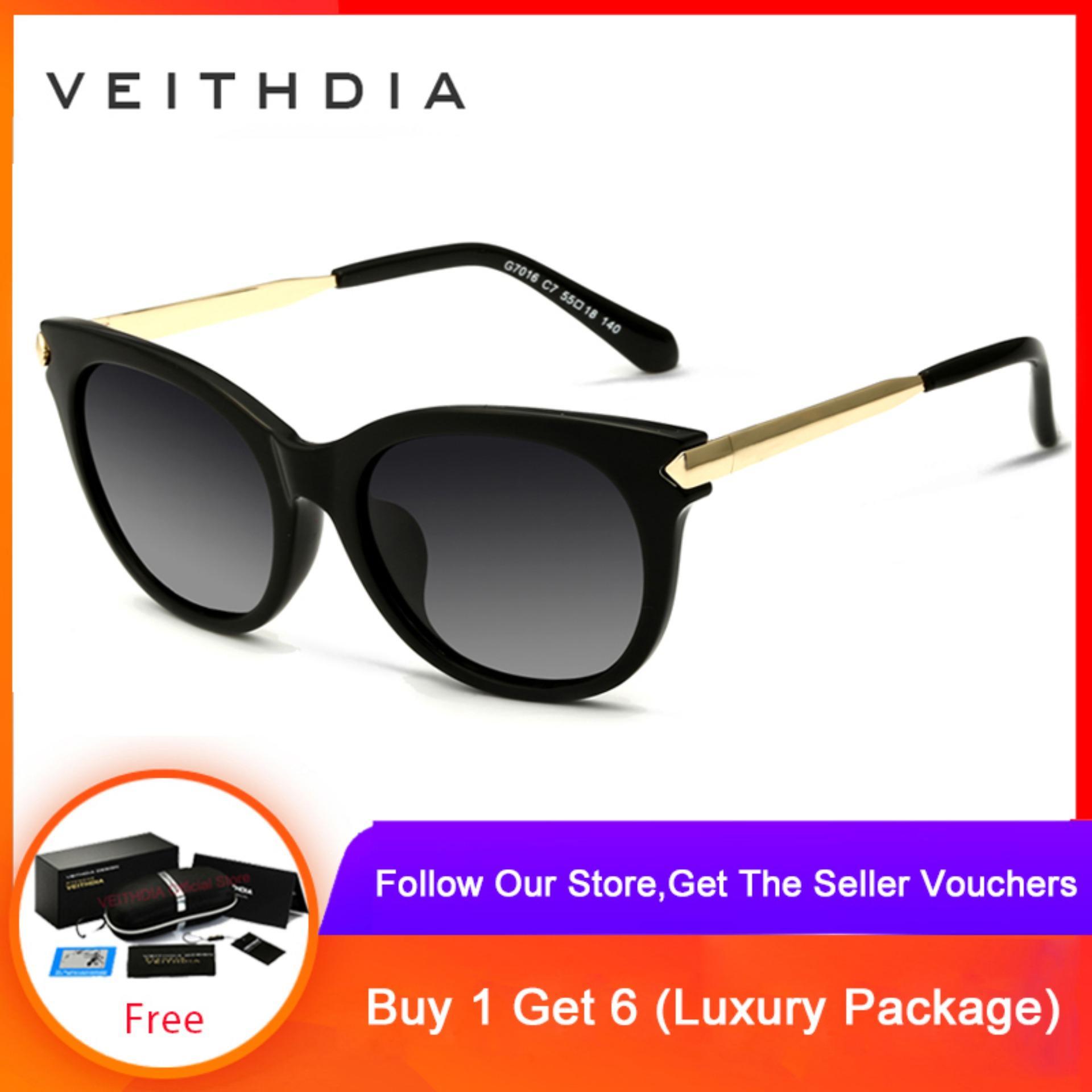 46734bdccd18 VEITHDIA TR90 Vintage Sun glasses Polarized Cat Eye Women Sunglasses Eyewear  Female 7016
