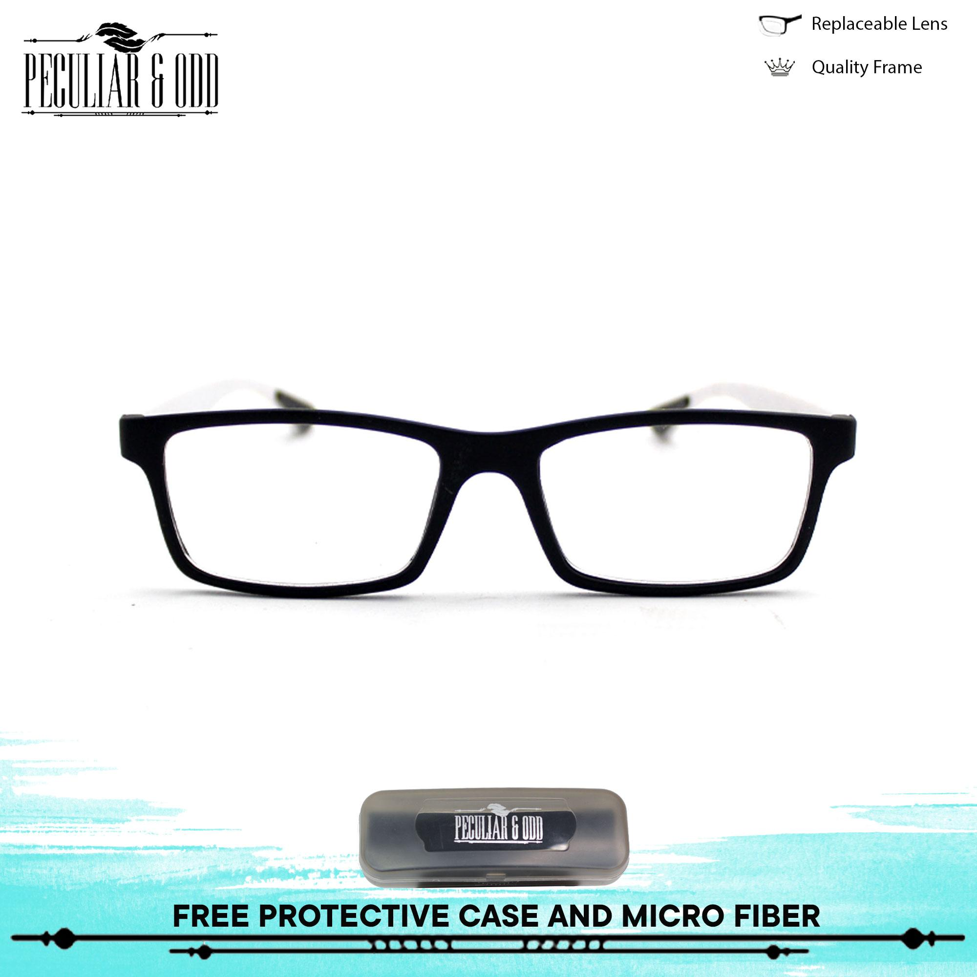 c6a6f8c62fb1 Optical Rubberized Frame XQY7926 BlackWhite Rectangular Computer Eyeglasses  Anti Glare Replaceable Lens with Rubberized Template Stopper Unisex