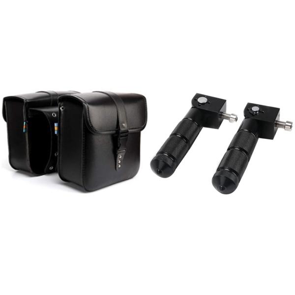 2Pcs Universal CNC Motorcycle Rear Pedal Set Foot Pegs Pedals & 1 Pair Universal Motorcycle Saddle Bags