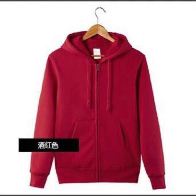 Jj Plain Hoodie Jacket With Zipperunisex -