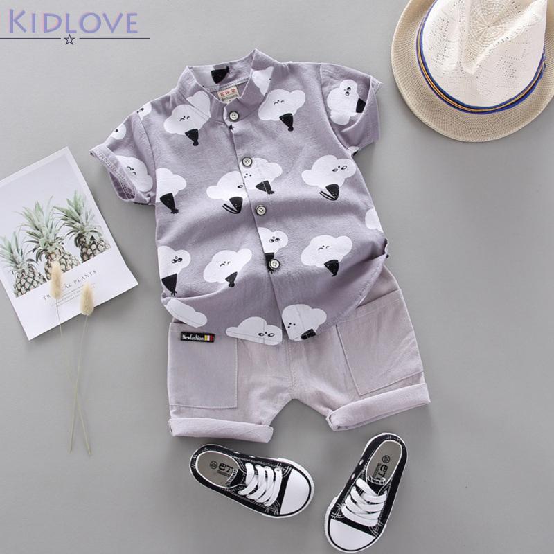 Kidlove 2 ชิ้น/เซ็ตเด็กเสื้อยืดชุดเด็กเสื้อผ้าฝ้ายแท้ตั้งยืนปกเสื้อแขนสั้น + กางเกงขาสั้นสูท