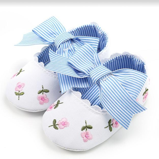 3ea7df27047e Cute Infant Kids Baby Girls Bowknot Embroidery Flower Soft Bottom Shoes  Baby Shoes