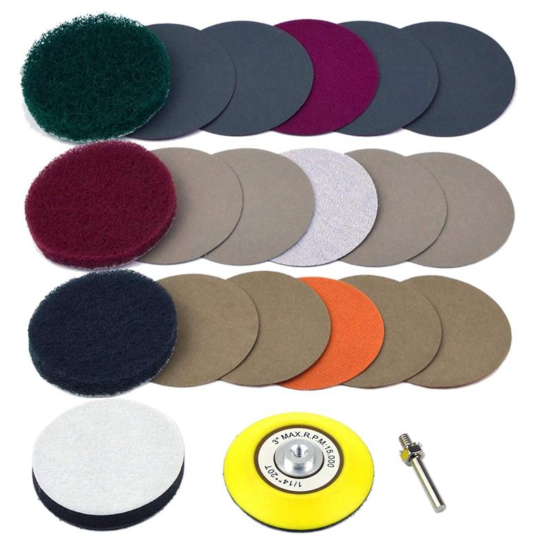 20Pcs Car DIY Polishing Kit Car Taillight Fog Lamp Repair Kit Includes: 3 Inch Scouring Pad + High Precision Waterproof Sand Disc