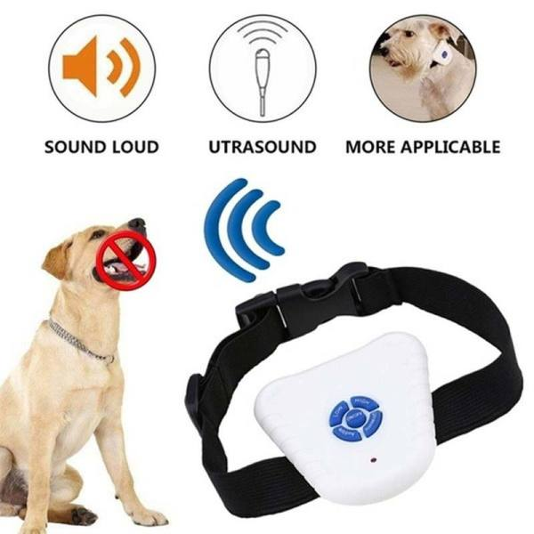 Dog Pet Stop Barking Control Collar Training Device Button Clicker Adjustable Ultrasonic Dog Anti Bark Collar Pets Supplies
