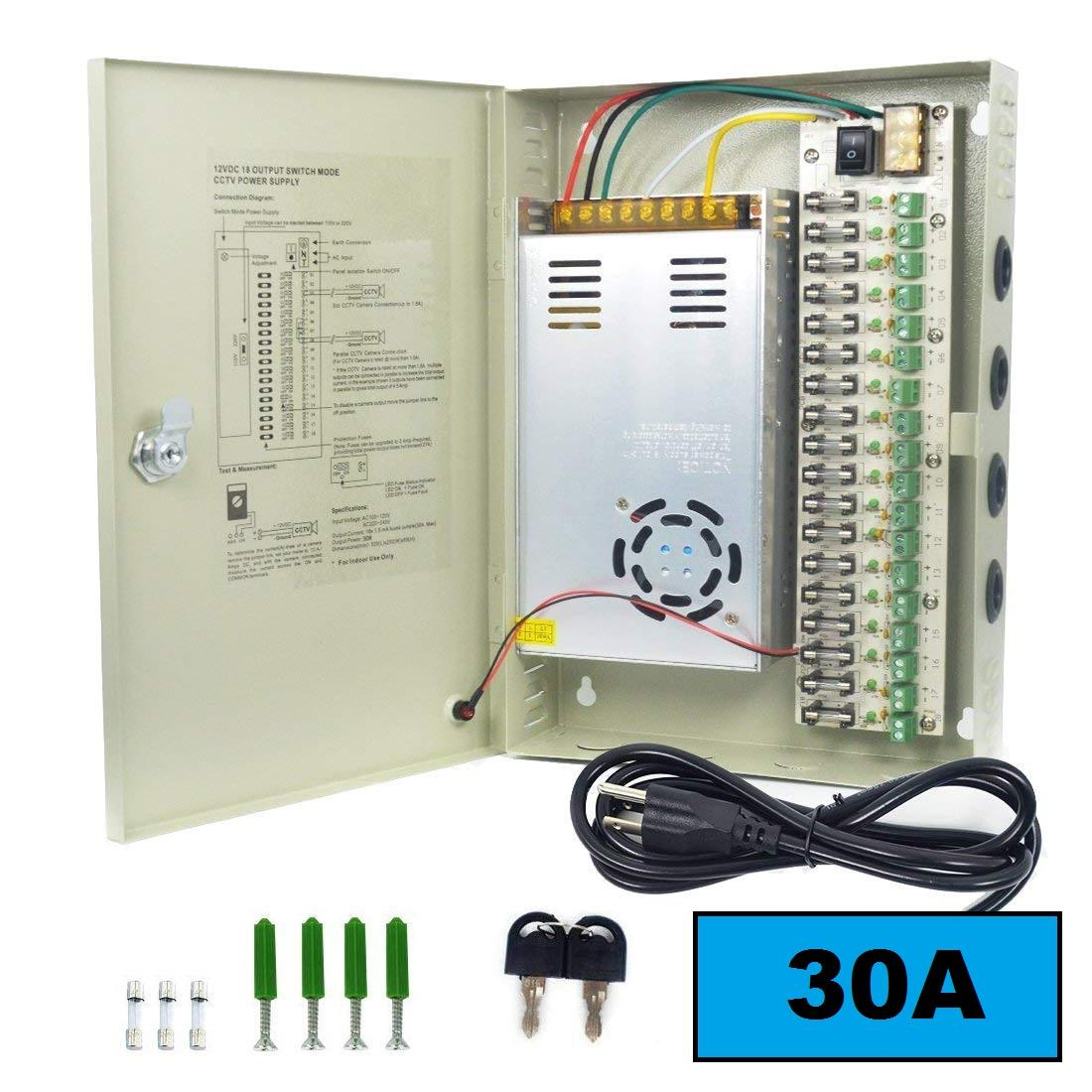 CCTV 18 Channel 30A Fused Centralized Distributed Power Supply With Box  18CH 12V 30A