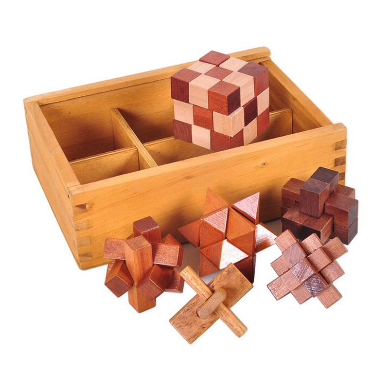 Bảng giá 6PCS/Set Wooden Puzzle IQ Brain Teaser Burr Interlocking Puzzles Game Toys Gift for Adults Children