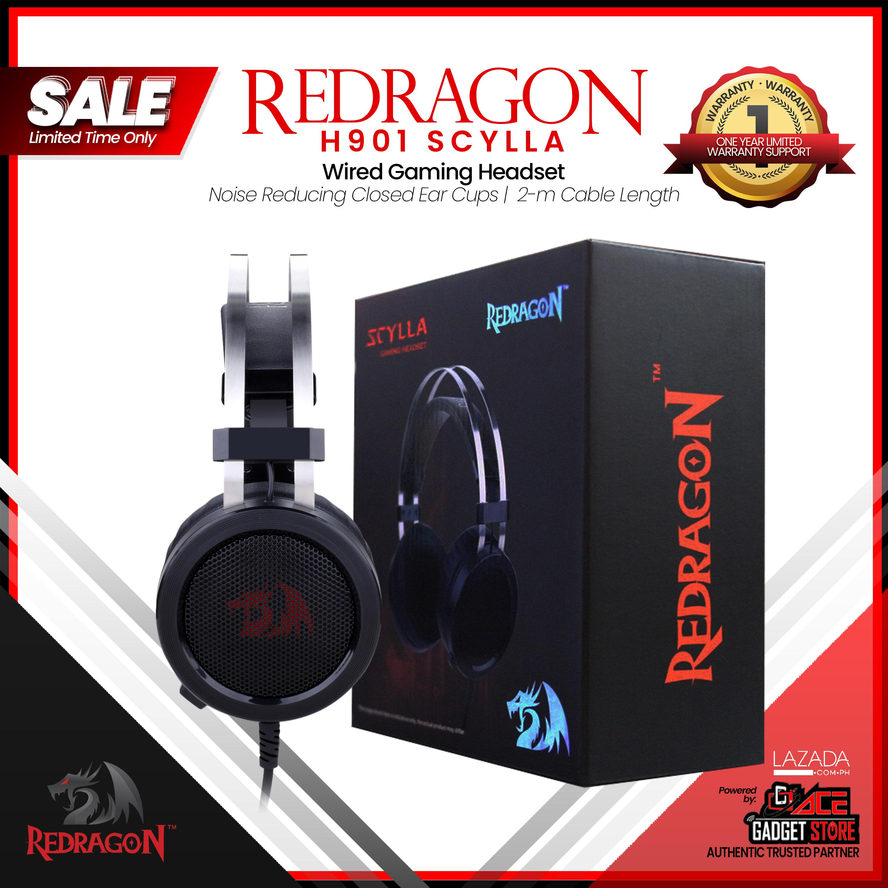 Redragon H901 Scylla Gaming Headset, Headset with Microphone for PC, PC  Gaming Headphones with Mic and built-in Noise Reduction works with PC,  Laptop,