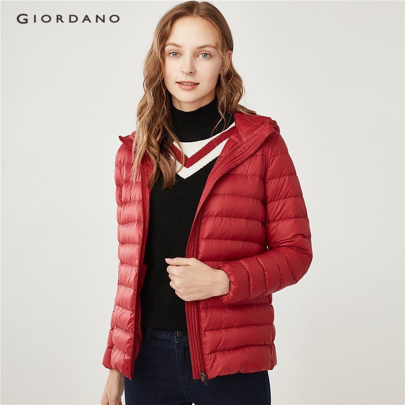 f2dc75f2f69a Giordano Women Machine washable lightweight hooded down jacket  Free  Shipping  05378624