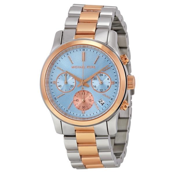 64a1d757281f MICHAEL KORS Runway Chronograph Blue Dial Two-tone Ladies Watch MK6166