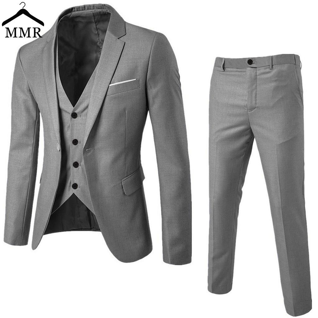 88b23615a7e9f Men's Suit Slim 3-Piece Suit Blazer Business Wedding Party Jacket Vest &  Pants