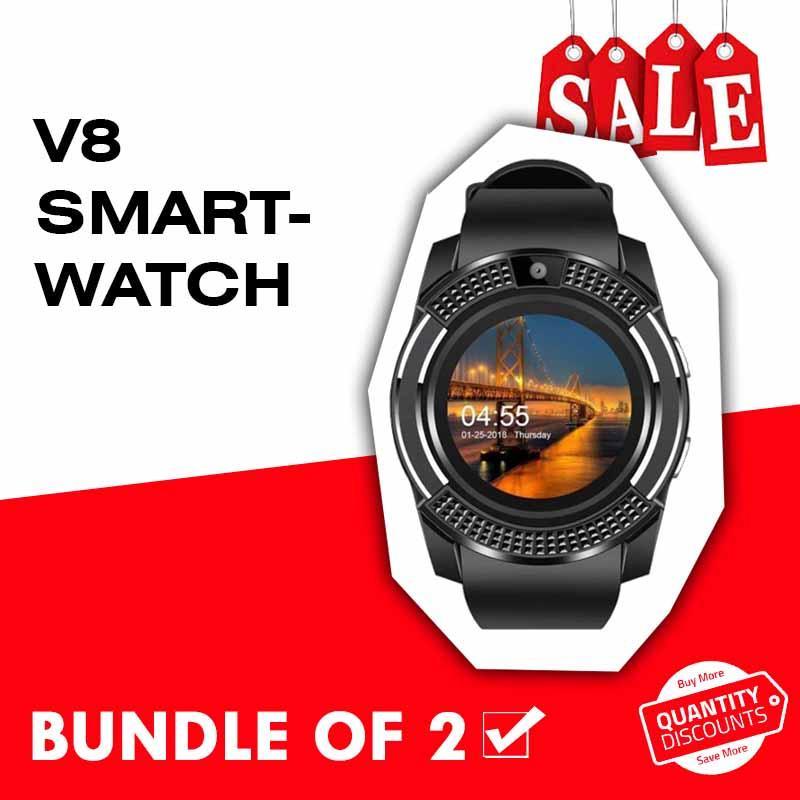 V8 Smartwatch Bluetooth Smartwatch Bundle of 2
