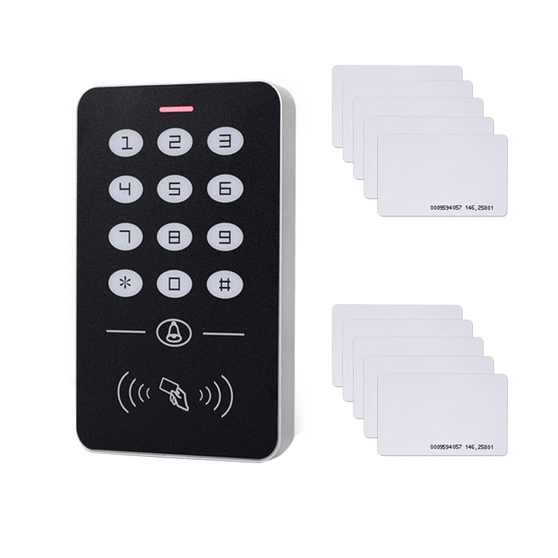 DC12V Electronic Access Control Keypad RFID Card Reader Access Controller with Door Bell Backlight for Door Security Lock System(A1Access Controller + 10 Access Cards)