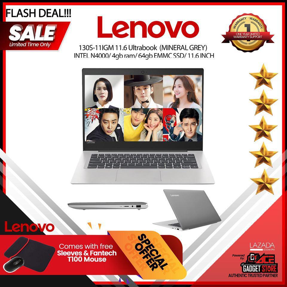 Lenovo 130S-11IGM 11 6 Ultrabook N4000/4gb ram/ 64gb EMMC Slim light weight  Notebook laptop