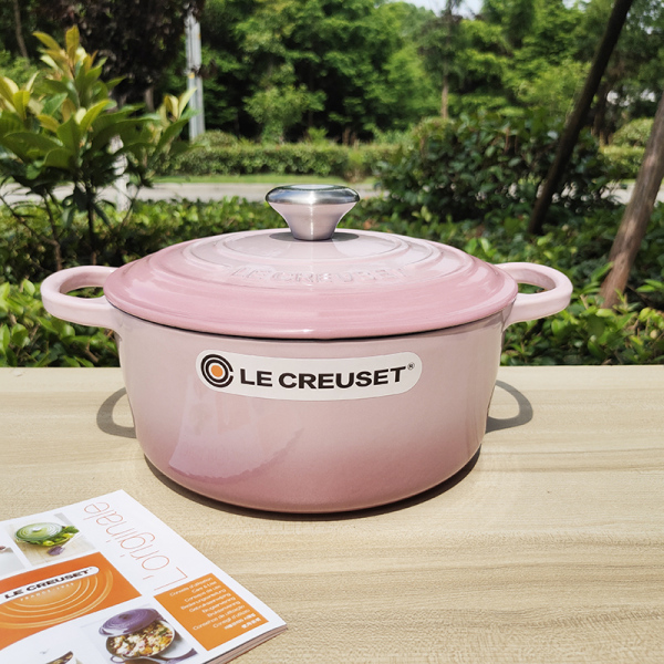 Size:24cm * 10cm weight: 4.6kg capacity: 4.2L Le Creuset health pot French Cool White Enamel Cast Iron Pot round Pot Flat Bottom Household Stew Pot Singapore