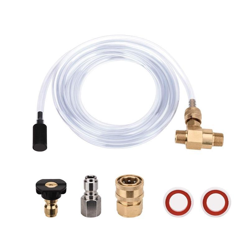 Pressure Washer Chemical Injector Kit Adjustable Soap Dispenser, 3/8 Inch Quick Connect, 10 Ft Siphon Hose, Come with 1 pcs Soap Nozzle and Tape