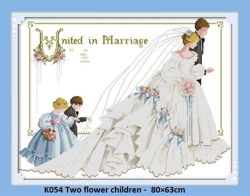 Marriage-Two Flower Children Stamped / Printed Cross Stitch Complete Set By Stamped To Stitch.