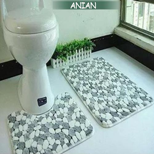 21bc1964cd61 ANIAN 2 Piece Bath Pedestal Mat Toilet Non Slip Washable Floor Rugs Sets  Soft Cotton Mat