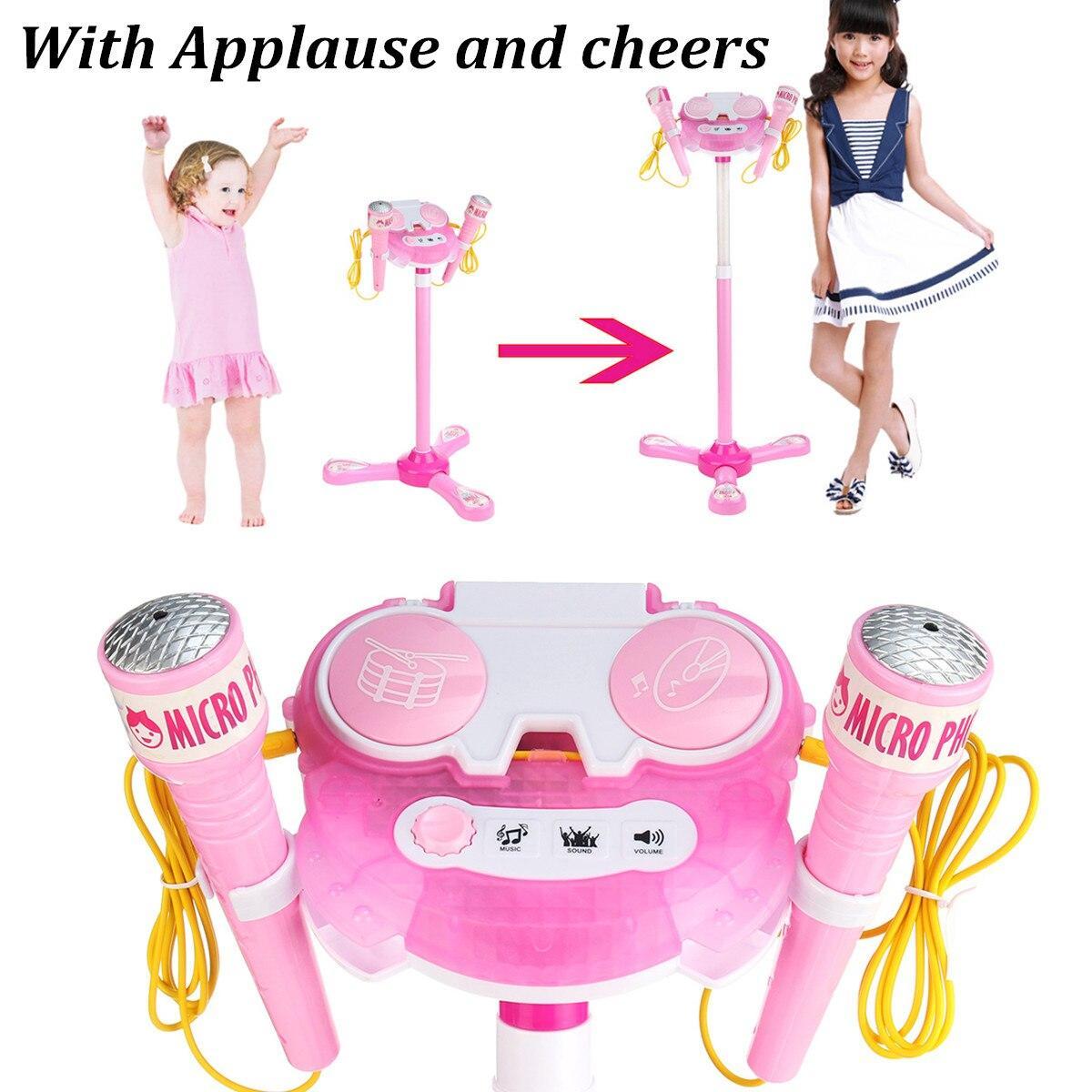 เครื่องคาราโอเกะชุด 2 ไมโครโฟนเพลงเล่นของเล่นปรับขาตั้งสำหรับเด็กบ้านสาวร้องเพลงระบบเด็กเด็กไมโครโฟน Mp3.