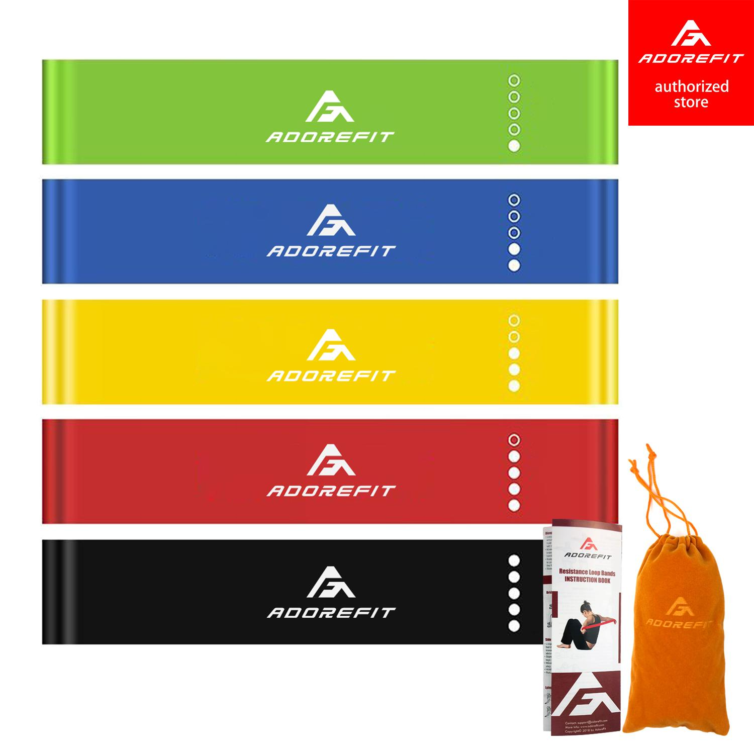 60f64a780e5a AdoreFit Resistance Bands Exercise Loops - Set of 5 Workout Flexbands for  Home Fitness,Yoga, Stretching, Physical Therapy and More - Includes Bonus  ...
