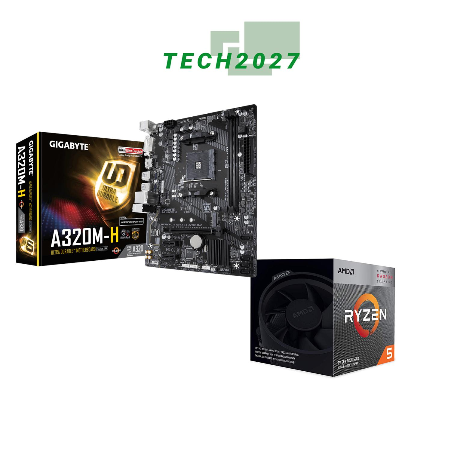 AMD RYZEN 5 3400G 4-Core 3 7 GHz WITH GIGABYTE A320M-H Motherboard
