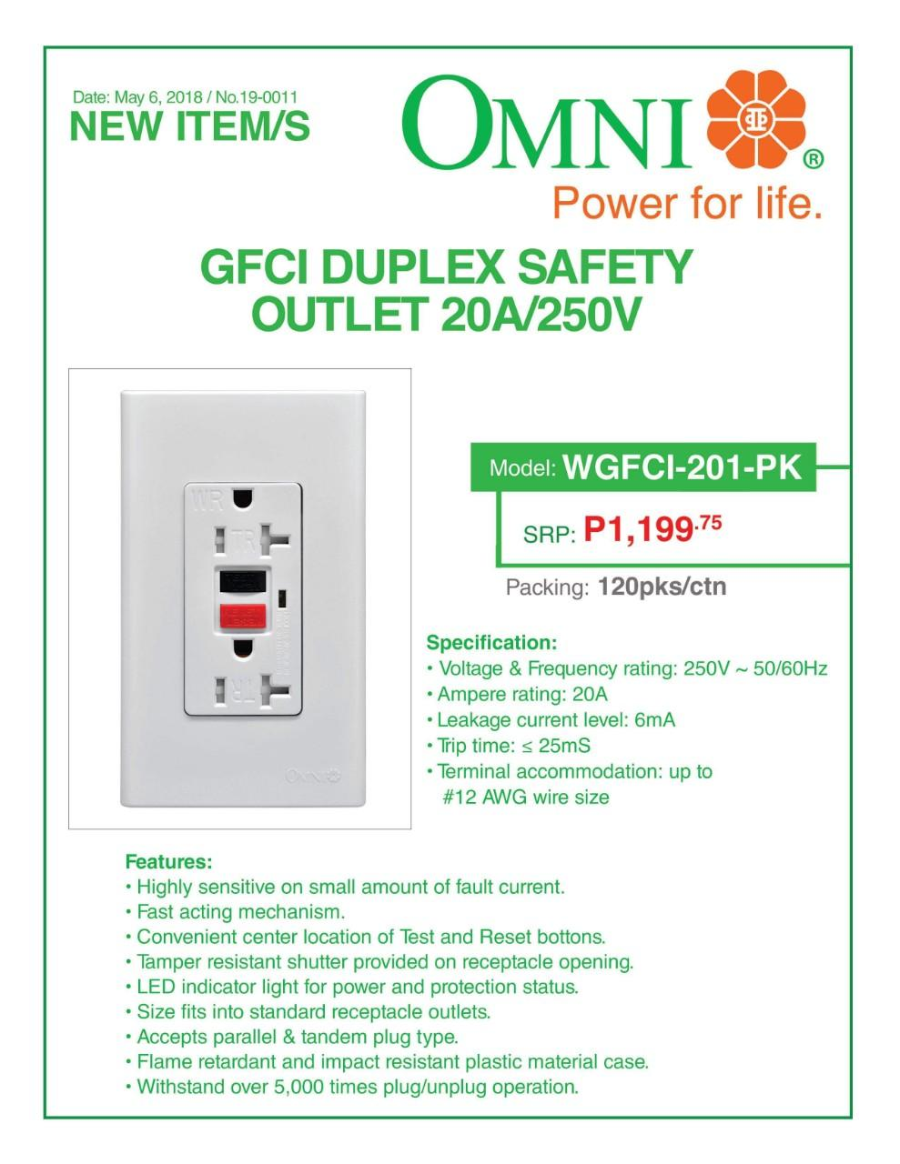 Omni Gfci Outlet Wgfci 201 Pk Buy Sell Online Wires Leads Adapters With Cheap Price Lazada Ph