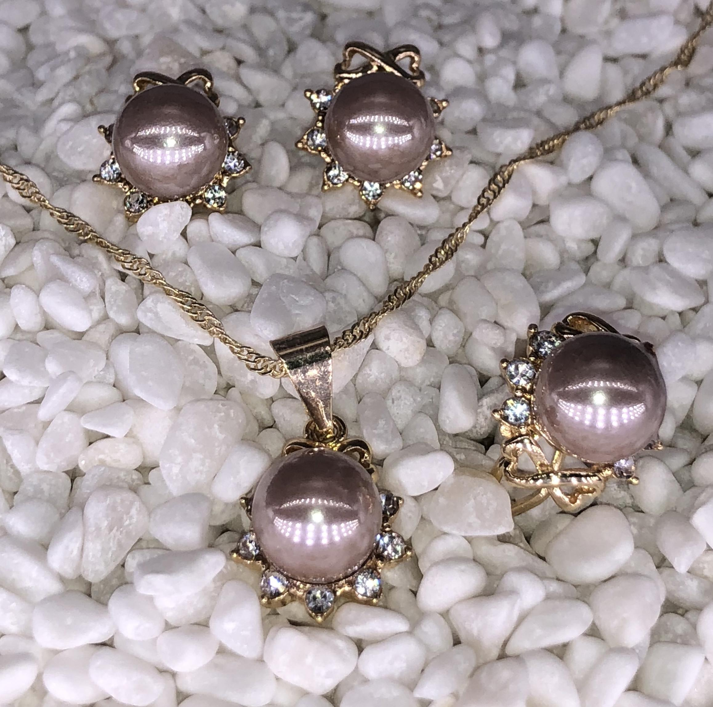 3ed80aed6 DS korean Women's Vintage Pearl wedding & party rhynestone .Necklace , Earrings and ring Jewellery