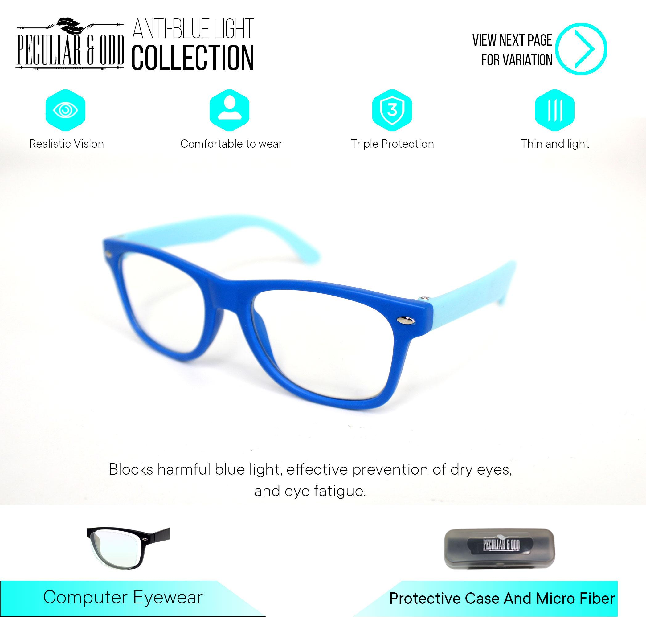 6735d0b1eeca Peculiar Kids Square 901_Blue Anti Radiation / Gaming / Gadget / Computer  Multicoated Blue Lens Clear