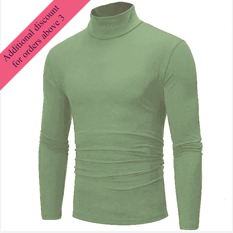 Mens Knit Shirt High Neck Sweater Cardigan Pullover Jumper Knit Shirt Tops Warm