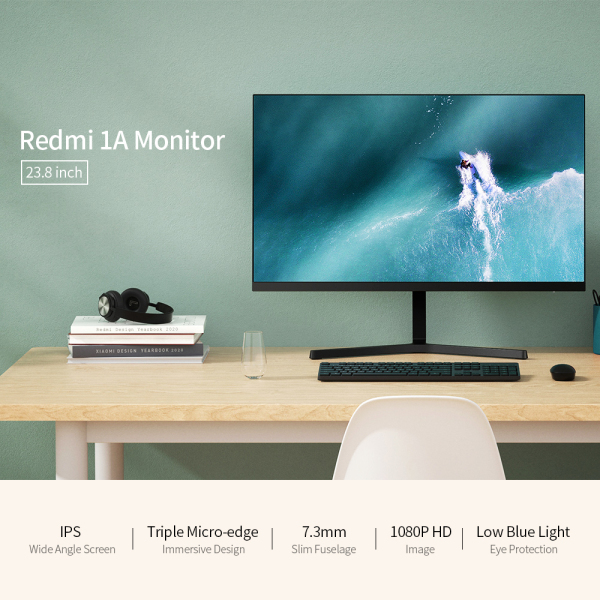 For Xiaomi Monitor Redmi 1A 23.8 inch Monitor HD 1080P IPS Screen 178° Wide Angle Low Blue Light Slim Monitor Malaysia