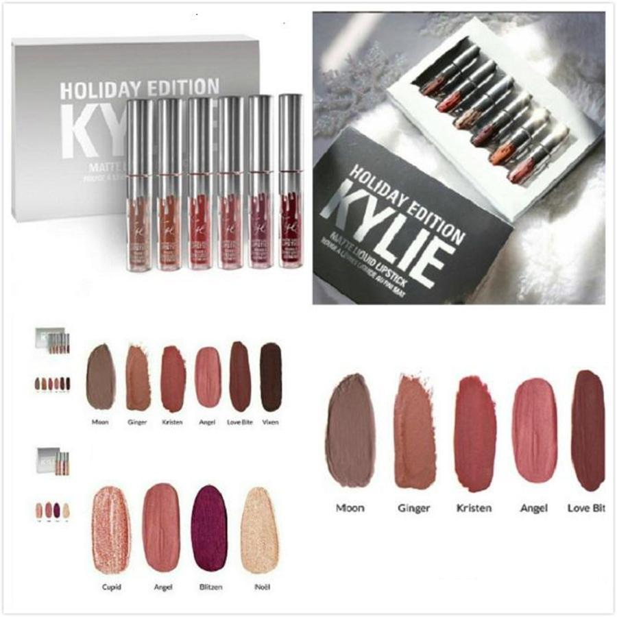 6PCS set KYLIE Lady Makeup Waterproof Liquid Llipstick Pop Matte Lasting Kilie Lip Tint cosmetic Kyliejenner Lipstick set  (Silver) Philippines