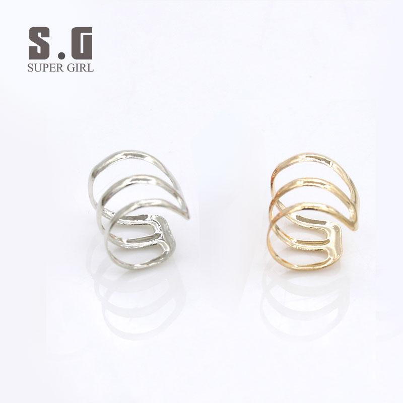 SG jewelry Korean style u-shaped ear bone clip on earrings European fashion  three circle creative new gold earrings for women ls E00029