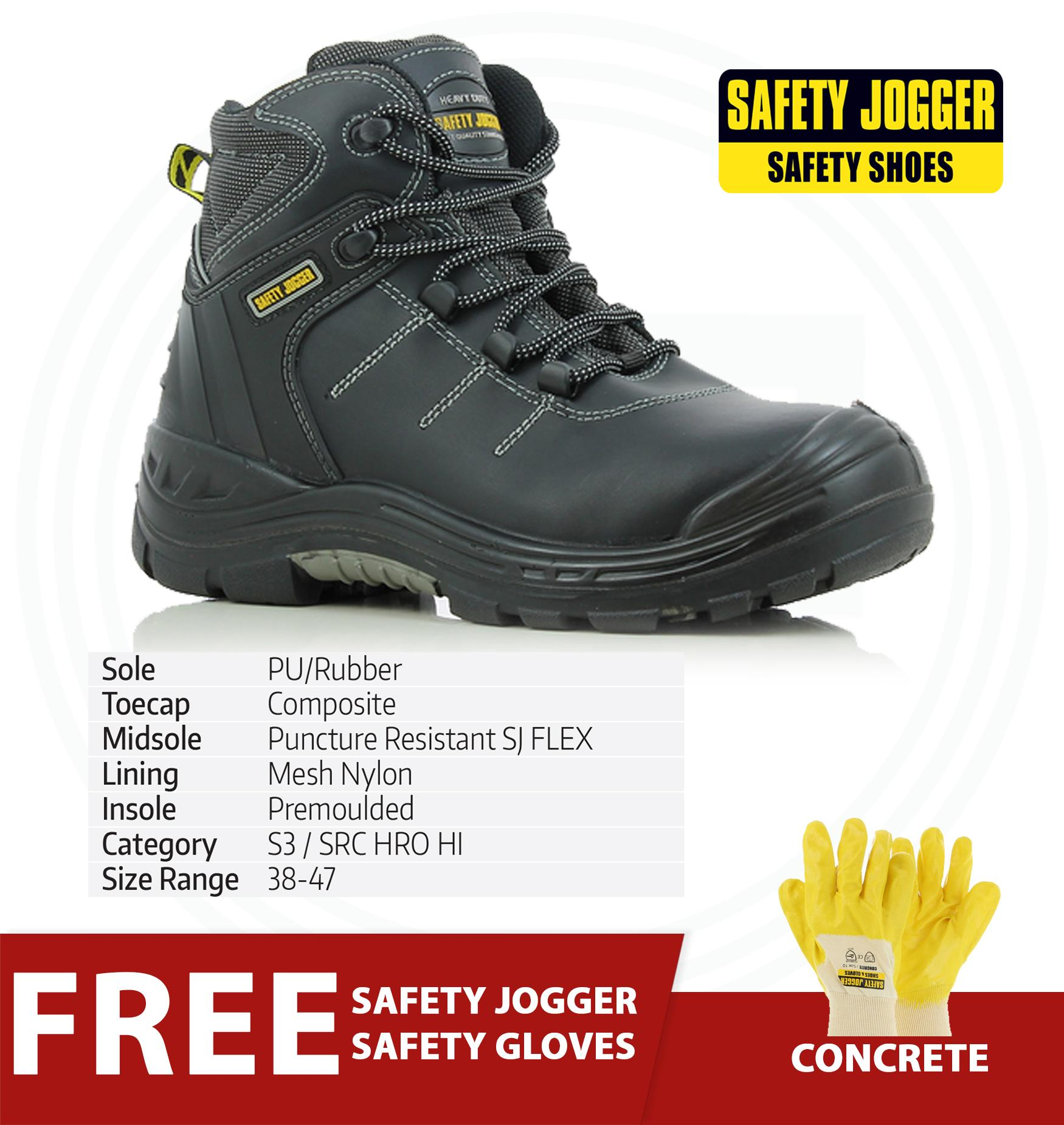 48572eee85a Safety Jogger Power 2 S3 High Cut Men Safety Shoes Footwear Composite Toe  (Black) with Free Safety Jogger Gloves