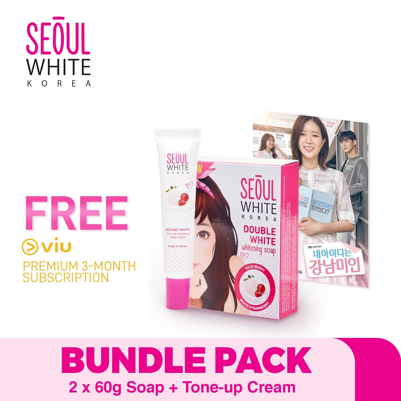 Seoul White Korea x Viu EXCLUSIVE BUNDLE: 2 x 60g Double White WHITENING  Soap + Tone-up WHITENING Cream For Face + FREE Viu Premium 3-MONTH