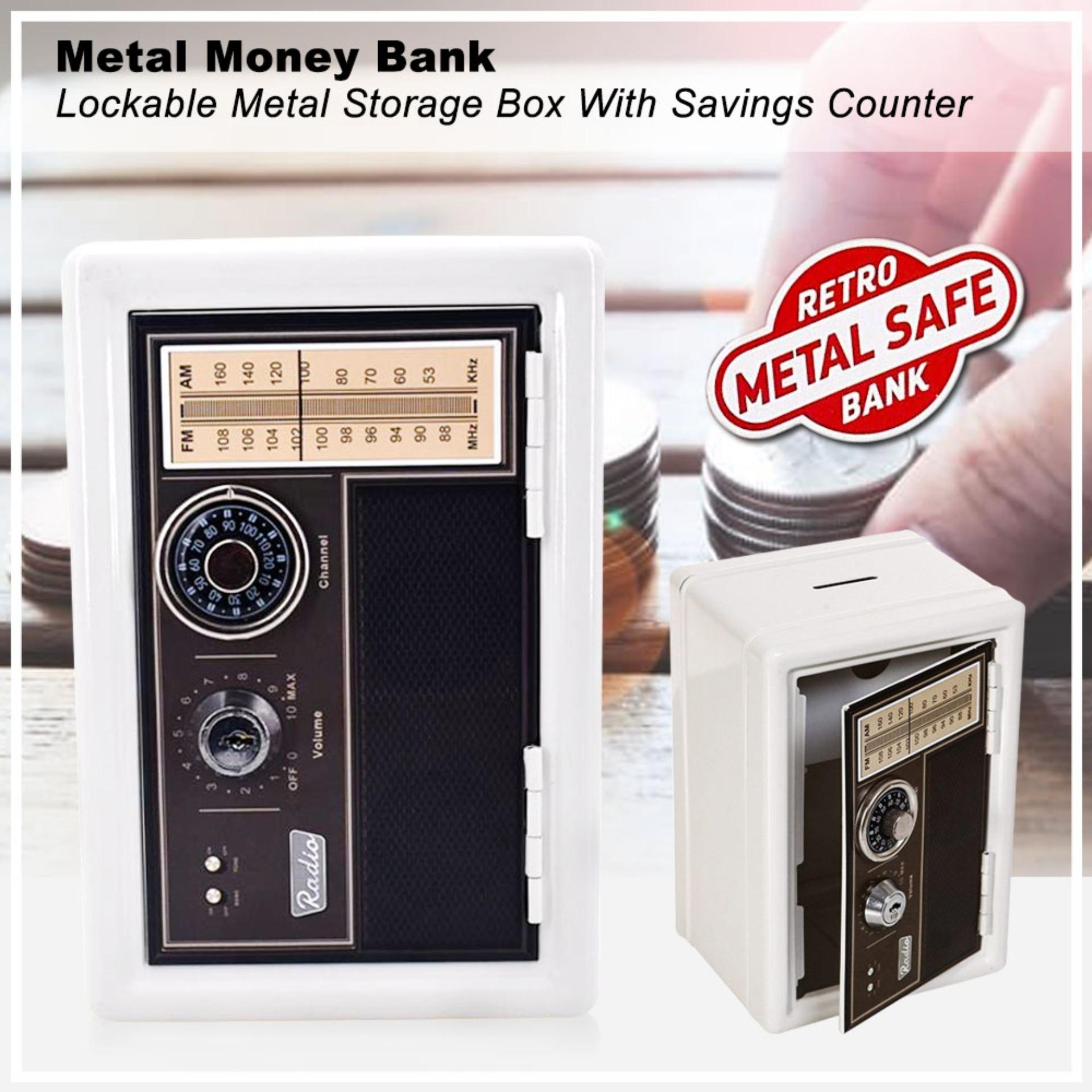Hodeso Coin Bank Locker Safe Vault with Key Lock Retro Style Design