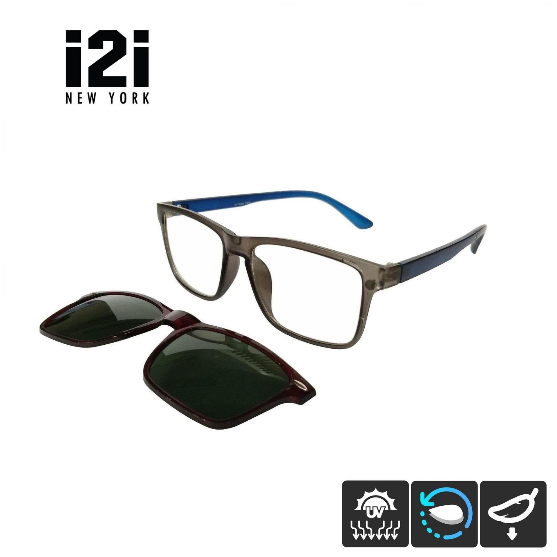 11817870a4 i2i New York Burton 2 399 Magnetic Clip On Eyeglasses (Matte   Clear Grey)