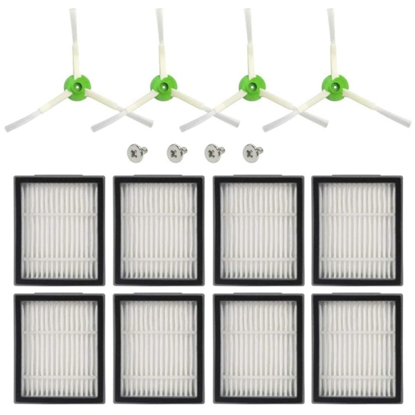 8 Pcs High-Efficiency Filters, 4 Pcs Edge-Sweeping Brushes Replacement Parts for IRobot Roomba E and I Series
