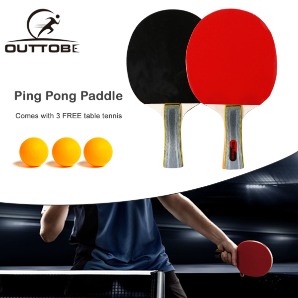 Outtobe Ping Pong Paddle Set - Table Tennis Racket with 2 Bats and 2 Ping Pong Balls and Table Tennis Paddle Case with Sponge Anti-collision Edging & Double-sided Reverse Adhesive