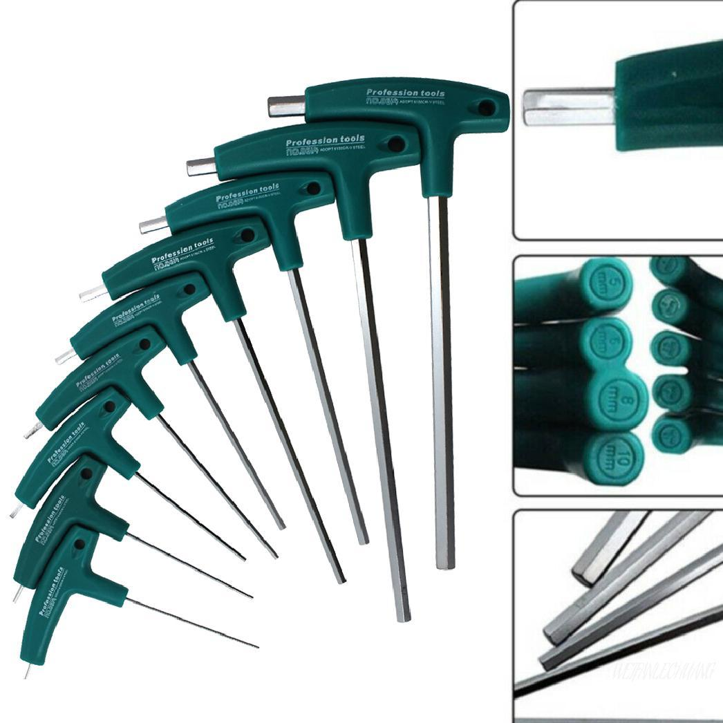 2.0mm-10mm Metric T Handle Allen Wrench Ball End Hex Key Long Arm