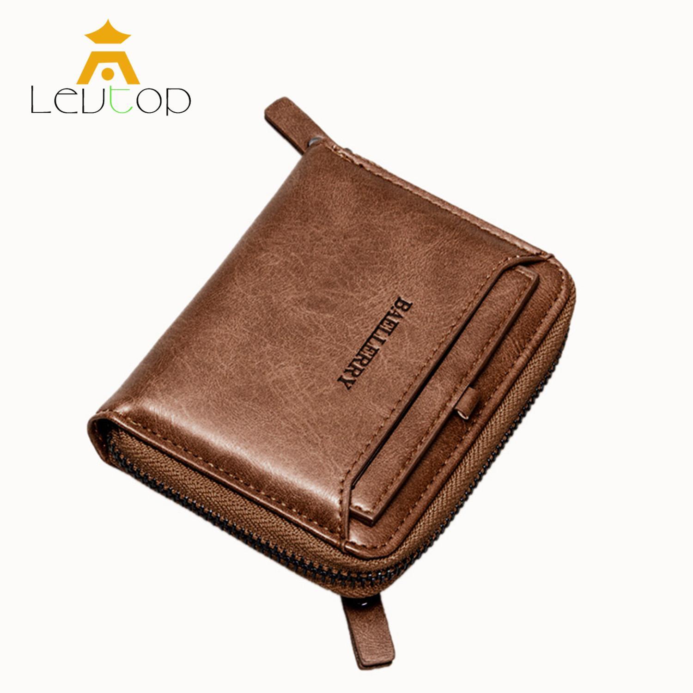 57af97f5c1f0 LEVTOP Men Short Wallet Mini PU Leather Fashion Zipper Vintage Wallet  Bifold RFID Theft ProtectionCard Holder Purse Bag Coin Pocket