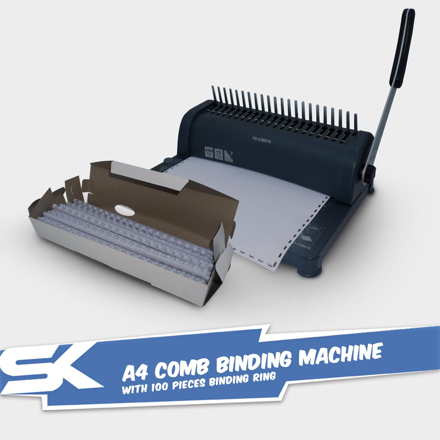 Office A4 Comb Binding Machine Bundle with 100 Pieces White Binding Rings