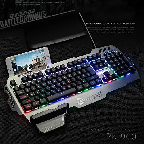 PK900 Membrane Gaming Keyboard Aluminum Alloy Panel 104 Keys Backlit  Keyboard