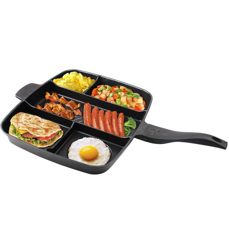 Non-Stick Koekenpan 5 in 1 Koekenpan Verdeeld Grill Pan Voor Alle-In- Een Gekookte Ontbijt Pot Bak Oven Maaltijd Koekenpan