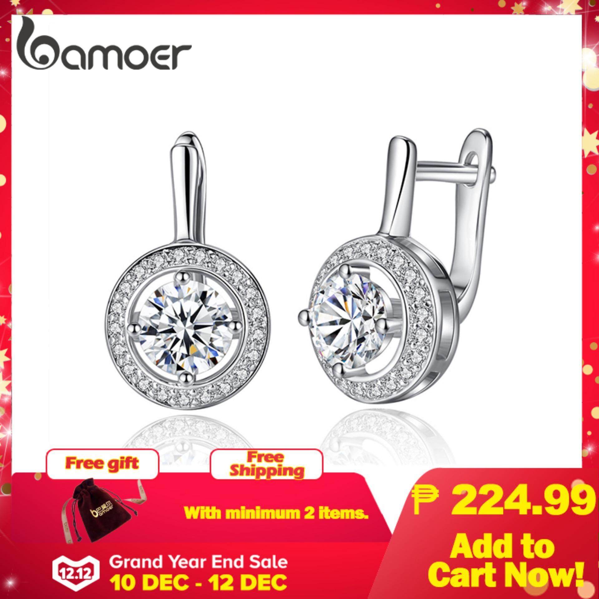 BAMOER Free Shpping New Arrival Silver Color Round Shape Full Of Love Dangle Earrings For Women