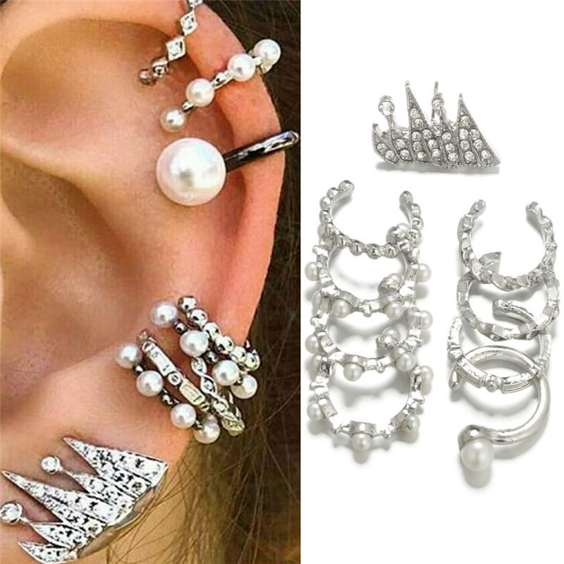 b4b1c728c NCSW 9PCS/Set Ear Clip Earrings Bohemia Ear Cuff Stud Crystal Ear Earrings  Jewelry